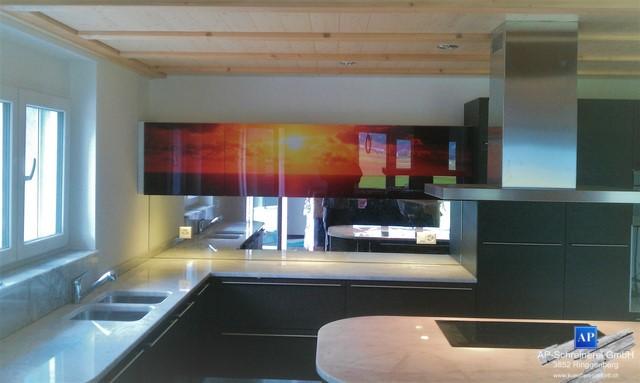 Küchenfront mit Fotodruck, Fotoprint. Glasküchenfront, Sonnenuntergang